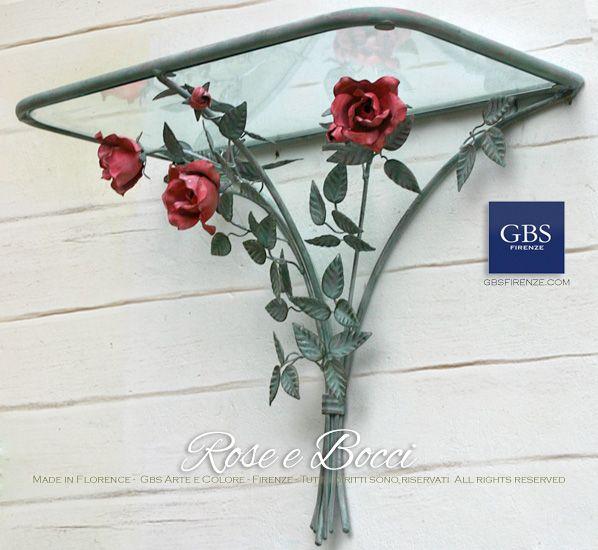 Consolle mensola a muro, Rose in tempera invecchiata. Ferro battuto e decorato a mano. Made in Italy. GBS Firenze. All rights reserved. gbsfirenze.com