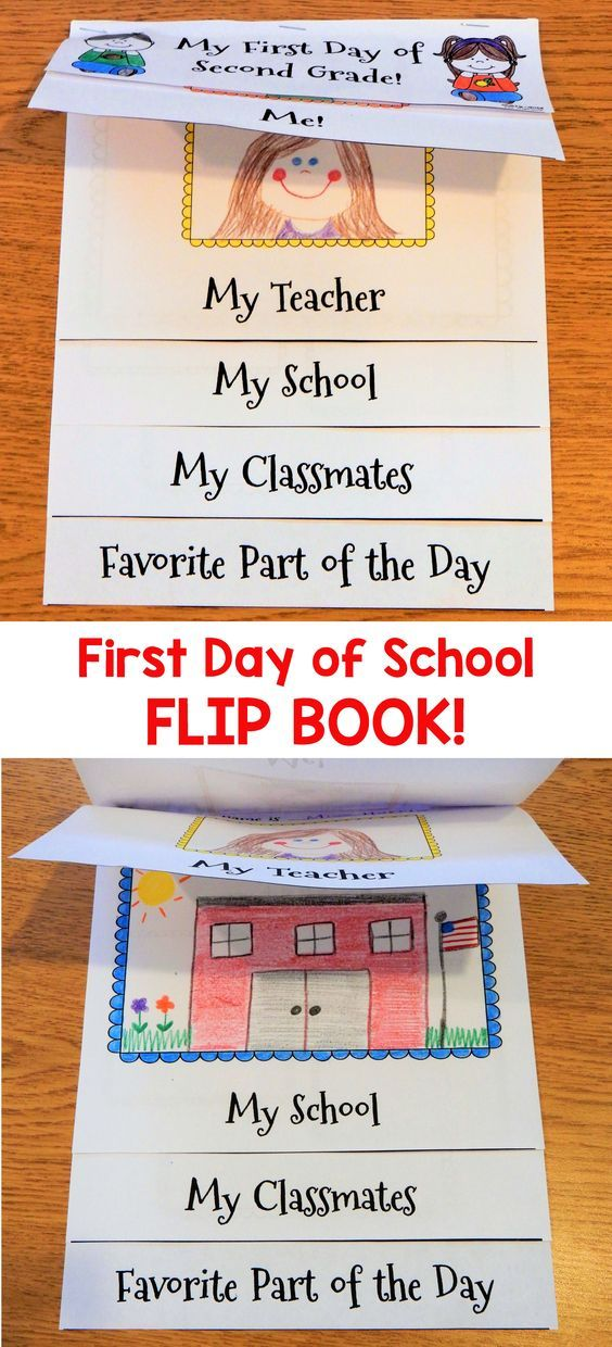Have your children make this cute First Day of School flip book to help them remember their very first day! When completed, this fun book will include a page about them, their teacher, their school, their classmates, and their favorite part of the day! I have included cover pages for Kindergarten, First Grade, and Second Grade.