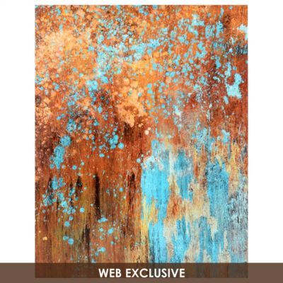 Copper and blue/turquoise wall art