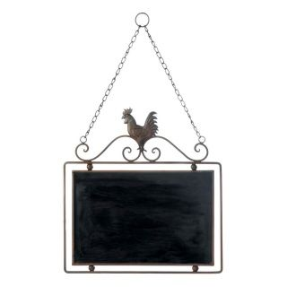 """by Accent Plus Send a message the old fashioned way! This charming rooster chalkboard will look great in your kitchen or pantry and is the perfect size for announcing tonight's dinner menu or keeping track of your grocery list. It hangs from a metal chain and the frame has a country rooster with scrolling embellishments. 13.2"""" x 0.5"""" x 21.5"""""""