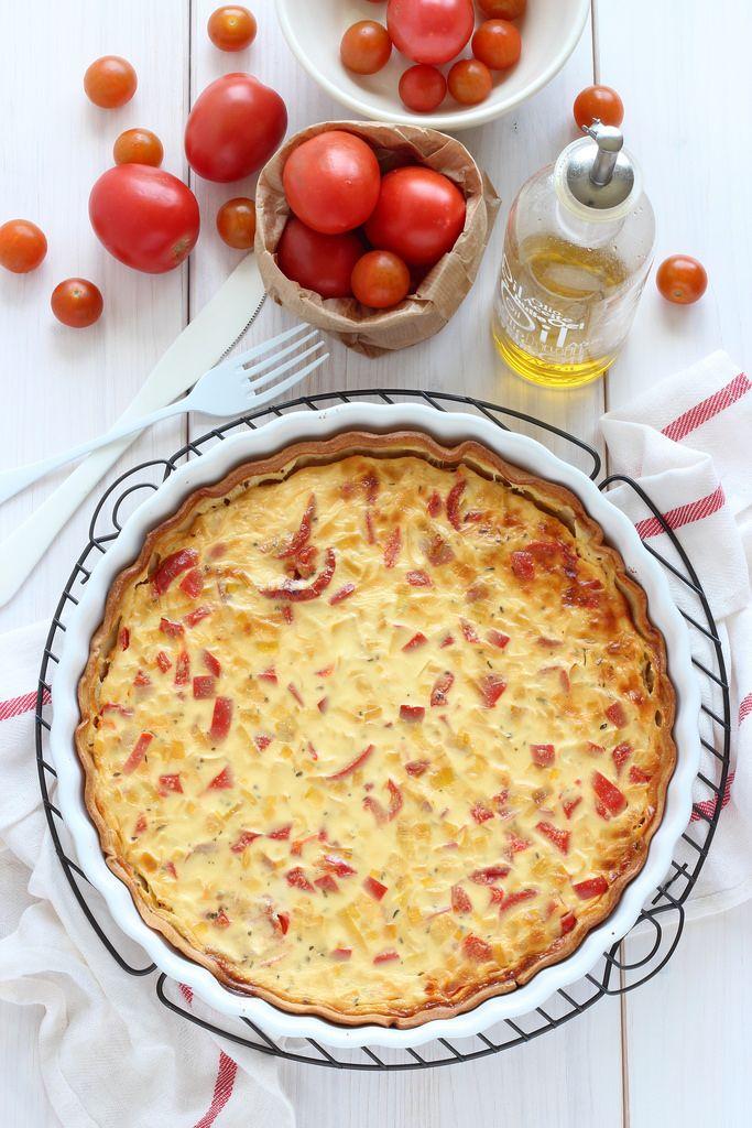 Quiche de tomates, puerro y yogur