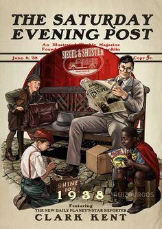 Ruiz Burgos, divulgou seu mais recente trabalhos com personagens DC Comics baseados no estilo do pintor Norman Rockwell.