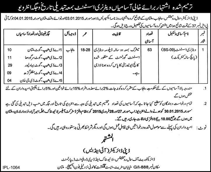 Livestock and Dairy Development Department Multan date of interview