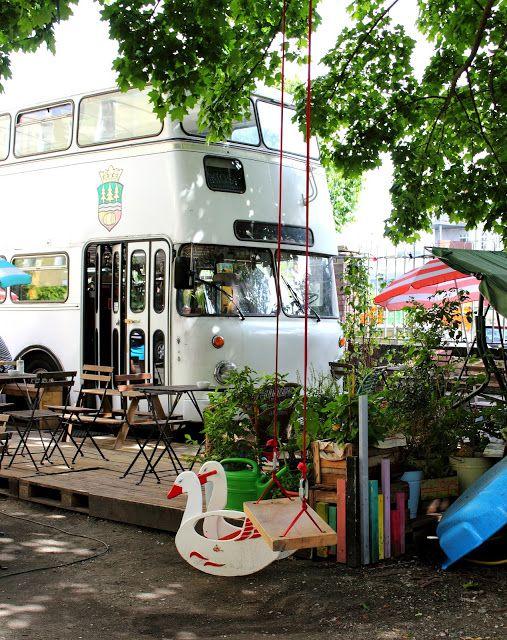 """outdoor swing   at double-decker bus turned cafe   """"kjosk""""   berlin"""