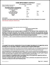 Home Improvement Contract Forms Info On Paying For Home