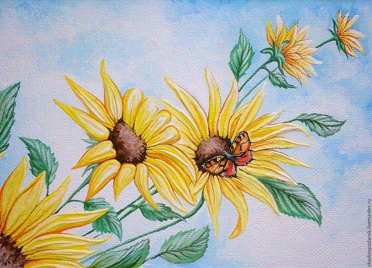 Купить или заказать картина 'Цветы Солнца' в интернет-магазине на Ярмарке Мастеров. Маленькие солнышкины детки, цветущие на земле. Золотые подсолнухи. Без устали поворачивают они личики за Солнцем, ловят каждый его золотой лучик. И впитывая его силу, сами светятся приветливо машут жёлтыми лепестками. Картина выполнена на оргалите, темперными красками. Рама вылеплена из текстурной пасты. Не нуждается в дополнительном оформлении. Полностью готова к размещению и несению хорошего настроения…