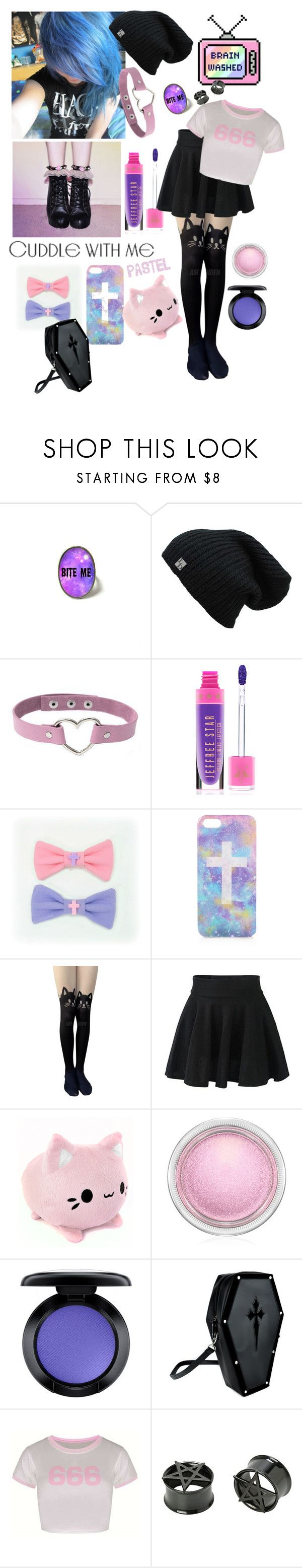 """""""One of my Favorite Pastel Goth Sets Now that I've Made"""" by crybaby1117 ❤ liked on Polyvore featuring Topshop and MAC Cosmetics"""