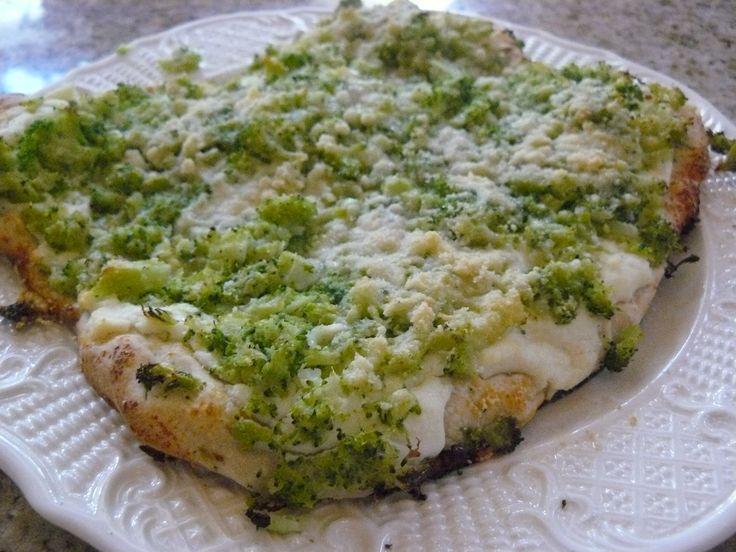 White Pizza with Broccoli recipe idea. GERD Friendly, and only 4 grams of fat per serving. Easy Quick Recipe posted on The Food You Choose.