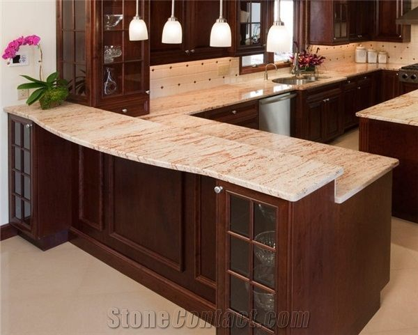 Kitchen peninsula pink granite kitchen ideas pinterest for 3 4 inch granite countertops