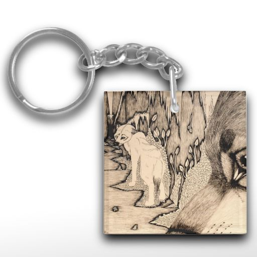 """Envy"" Black and white wolf Keychain"