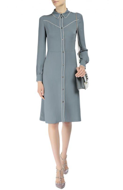Женское синее шелковое платье-рубашка с контрастной отделкой Valentino, сезон FW 16/17, арт. LB3VA9G4/1MH купить в ЦУМ | Фото №2