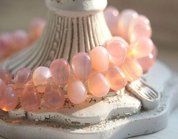 Czech glass teardrops Baby opal pink drop beads  by MayaHoney