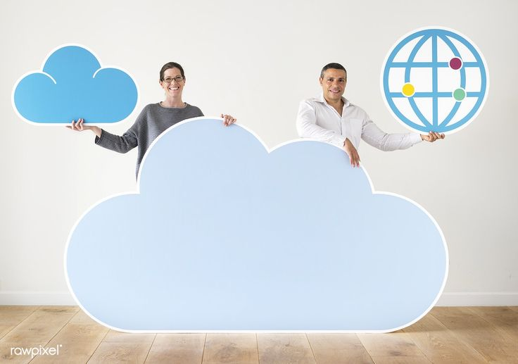 Download premium image of people holding cloud and technology icons 404820