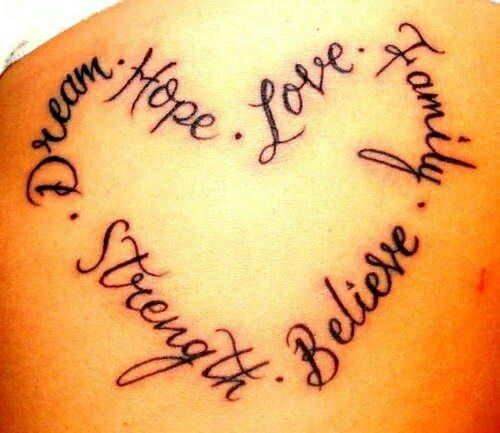 Heart Tattoo Of Hope. Love. Family. Believe. Strength And