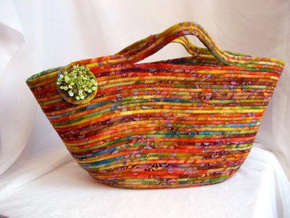Handmade Magazine Rack, Batik Fabric Basket, Storage Organizer, Southwestern Hamper, hand wrapped and coiled fabric basket