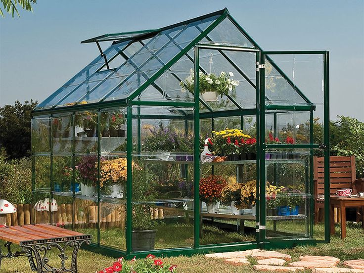 Enjoy the durability of a rust proof aluminum frame and the glass like clarity of our single layer polycarbonate SnapGlas covering - all in one greenhouse.  Attractive green powder coating finish will compliment the natural surroundings while the SnapGlas covering offers high impact resistance and 100% UV protection.  Standard features include swing door and single roof vent.