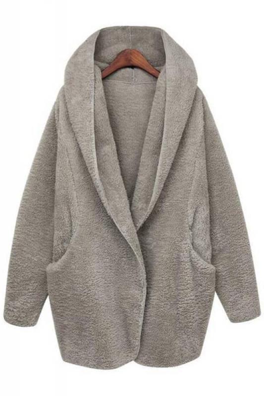 Loose Two-Pocket Long Sleeve Hooded Winter Coat