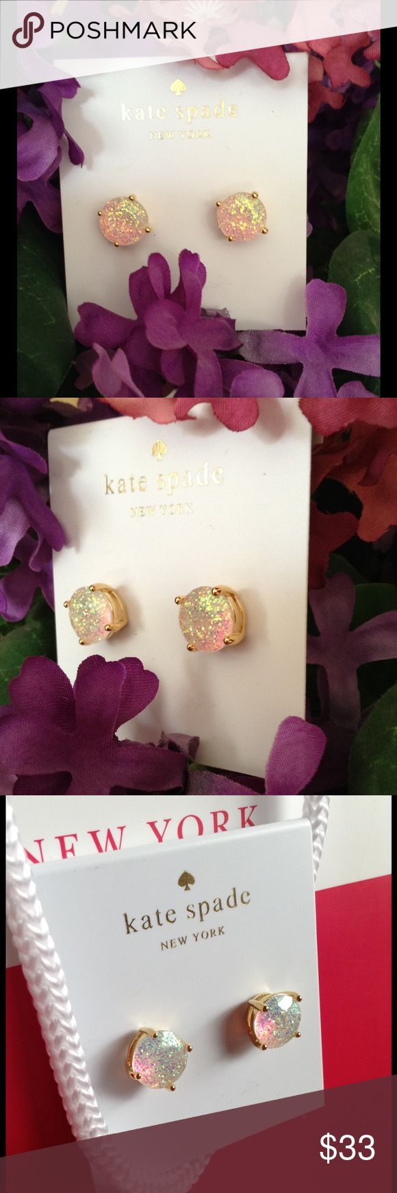 NWT Kate Spade Opal Glitter Earrings. NWT Kate Spade Opal Glitter Earrings. 12kt Gold Plated with Glitter Infused Epoxy Stones. Sparkle at all angles. Kate Spade pouch included.  PRICE IS FIRM!! kate spade Jewelry Earrings