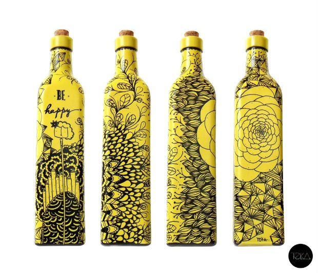 Artista portuguesa reaproveita garrafas e cria peças de decoração únicas.
