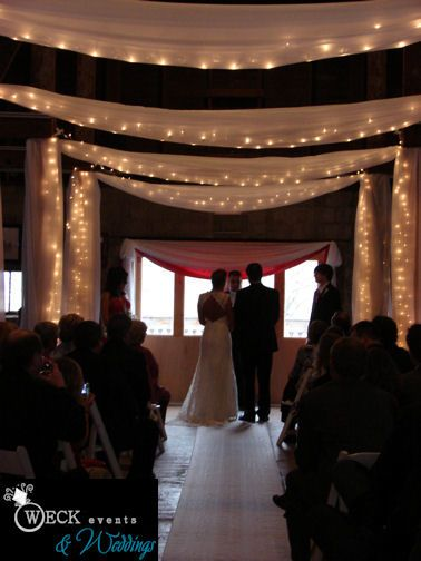 Barn wedding with fabric draping and white lights - romantic! #wedding