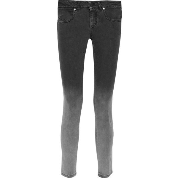 Stella McCartney Dégradé mid-rise skinny jeans (665 PEN) ❤ liked on Polyvore featuring jeans, grey, skinny jeans, gray jeans, denim skinny jeans, grey skinny jeans and skinny fit jeans