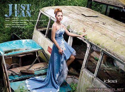 M Seng Lu - Denim Wedding Dresses - Myanmar Model Girls Photos
