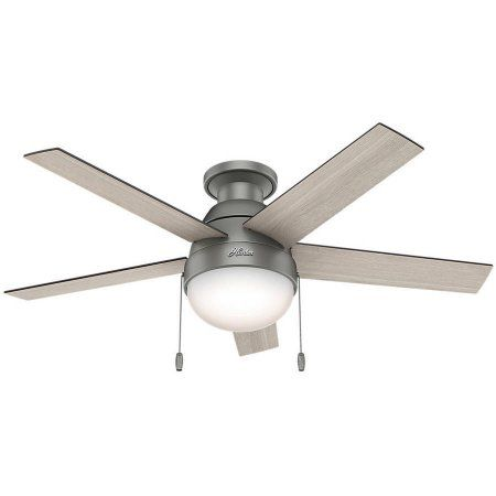 Hunter 46 inch Anslee Low Profile Matte Silver Ceiling Fan with Light