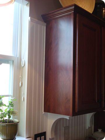 Beadboard backsplash for kitchen