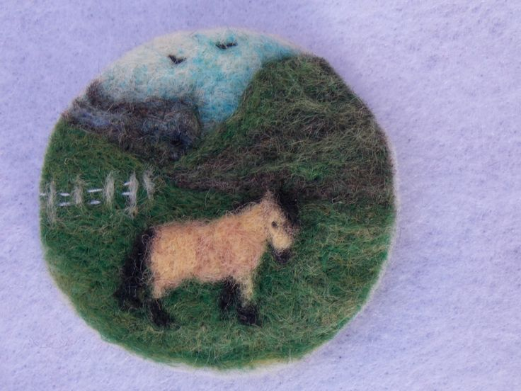 2 Inch hand needle felted brooch or sew or sew on patch. Had fun with this one but wish I had more colours to play with.