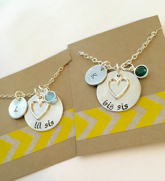 Hand Stamped Sisters Necklace Set Big Sister, Little Sister Necklace, Big Little Soroity Sisters