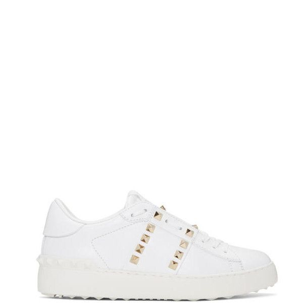 Valentino White Rockstud Untitled 11 Open Sneakers ($735) found on Polyvore featuring women's fashion, shoes, sneakers, white, white leather trainers, white leather sneakers, white low top sneakers, valentino shoes and white sneakers