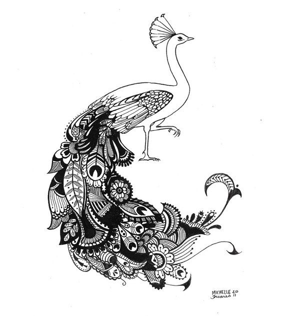 """Custom Hand Drawn Paisley Animal of Your Choice  - 8""""x10"""" - Original Commissioned Artwork"""