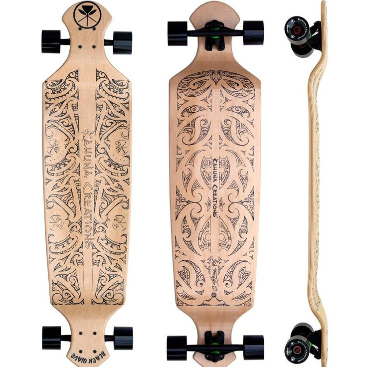 "Drop Deck 43"" Longboard Complete - Black Wave (Natural) | Kahuna Creations"