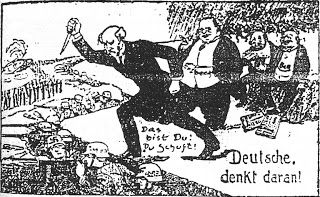 LIES YOUR TEACHER TAUGHT YOU: Why Hitler hated Jews? A 1924 right-wing German political cartoon showing Philipp Scheidemann, the German Social Democratic politician who proclaimed the Weimar Republic and was its second Chancellor, and Matthias Erzberger, an anti-war politician from the Centre Party, who signed the armistice with the Allies, as stabbing the German Army in the back