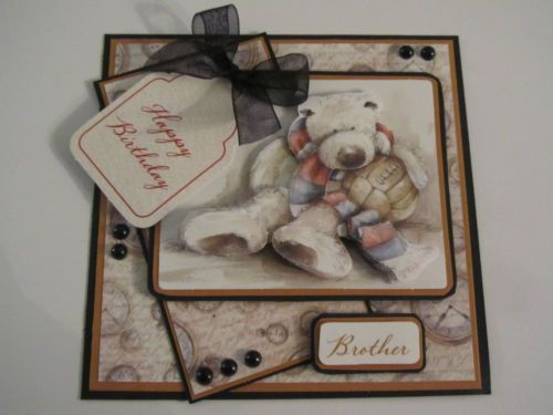Beautiful Brother Teddy Bear card topper for any paper craft project