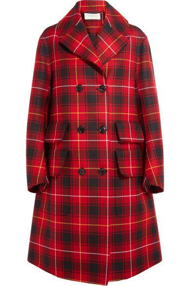 Gucci - Oversized Appliquéd Tartan Wool Coat - Red - IT