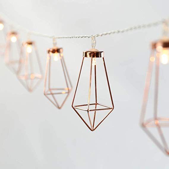 AFFILIATELINK Rosé Gold Metall Laternen Lichterkette