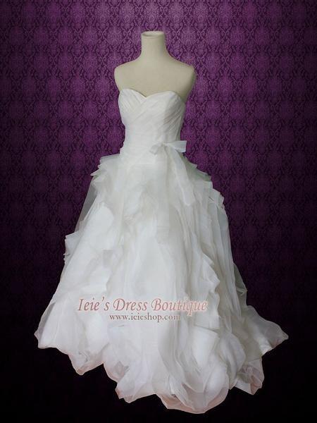 Strapless Organza Ruffle Ball Gown Wedding Dress
