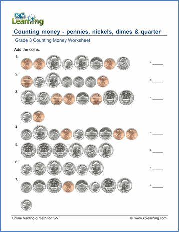 grade 3 counting money worksheet on counting pennies nickels dimes and quarters my preschool. Black Bedroom Furniture Sets. Home Design Ideas