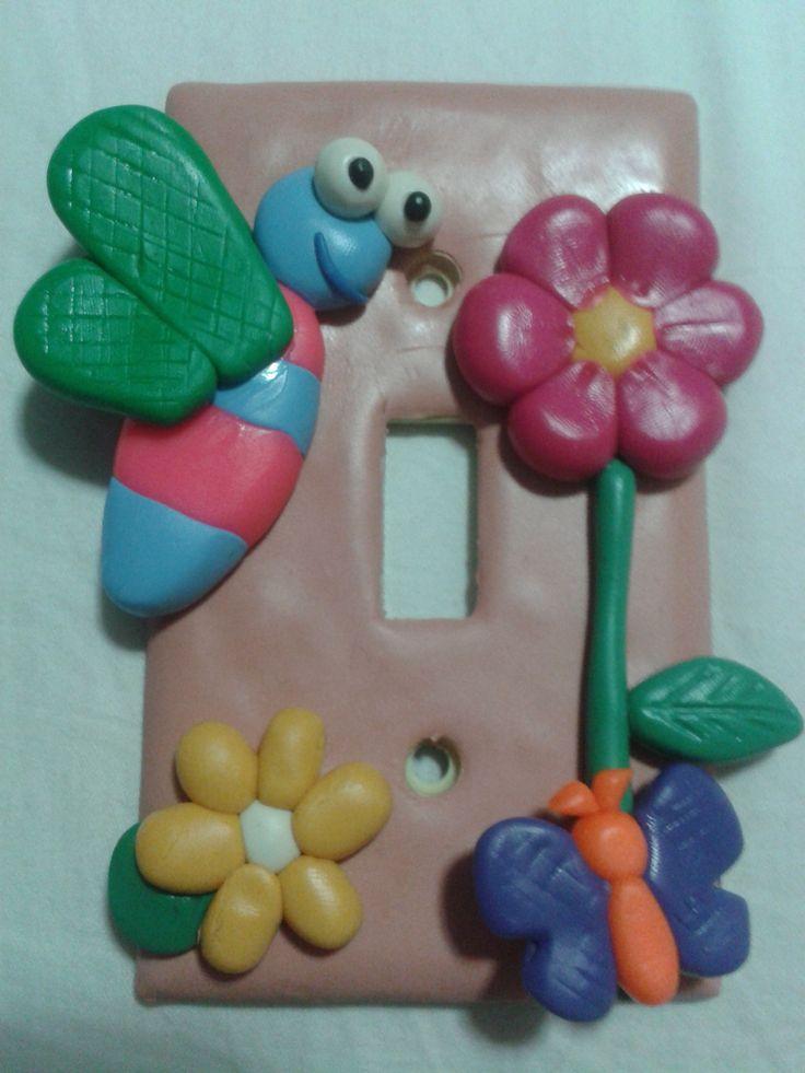 libelula, flor, mariposa, tapa interruptor luz, porcelana fría, fimo, biscuit,