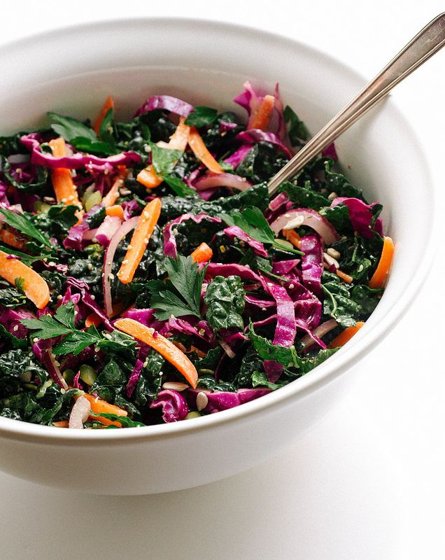 Kale & Red Cabbage Slaw... Quick and easy, this slaw salad will add some freshness to your life! Includes a light dressing and added seeds for protein and crunch. Opt to use tahini in place of olive oil when making the dressing for extra creaminess...delicious!
