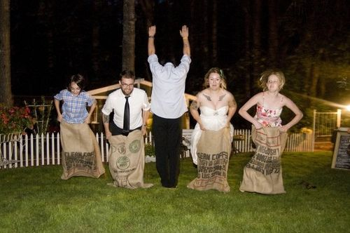 Lawn games at the wedding- sack races, croquet, tug of war (grooms side vs. brides side), badminton etc etc