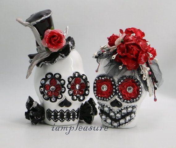 Skull black and white red rose weddings cake topper handmade bride and groom on Etsy, $95.00