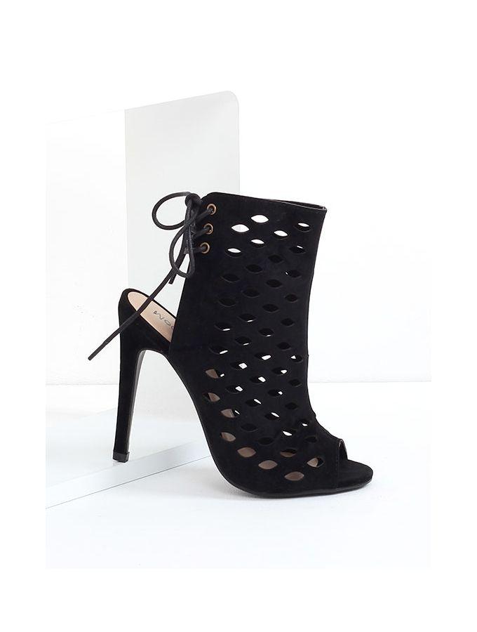 Selma - Laser Cut Sandals Black