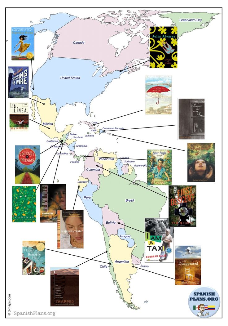 Hispanic Books on Map: Culture through Literature. A list of 90 youth novels relating to Hispanic  countries.