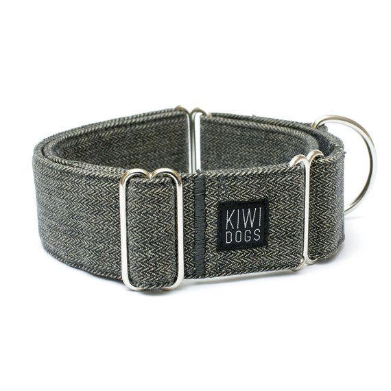 Herringbone METROPOLITAN martingale dog collar - cool hipster dog collar