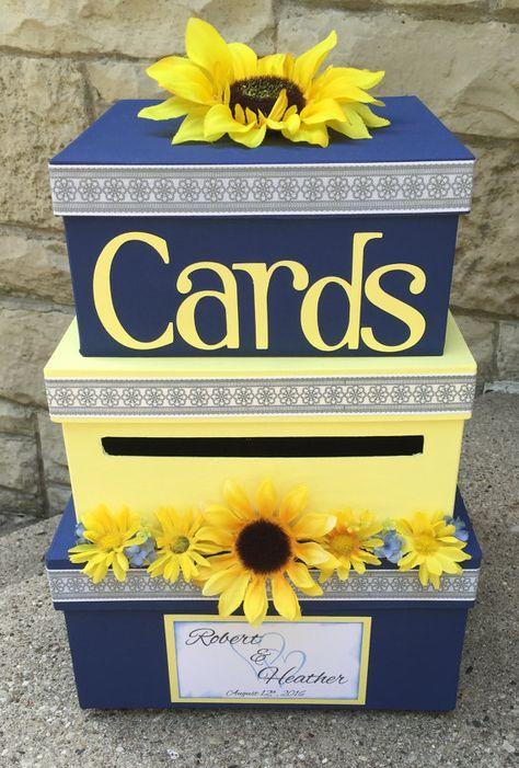 Custom Wedding Card Box, 3 Tier, Card Holder, Square, Navy Blue and Yellow, Sunflowers, Wedding Deco
