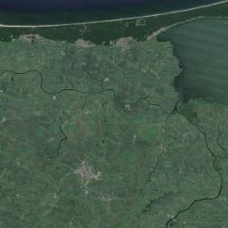 Granica Wolnego Miasta Gdańska - Mapy Google. Na Mierzei i u ujścia Piaśnicy są na pewno zachowane oryginalne słupki graniczne.