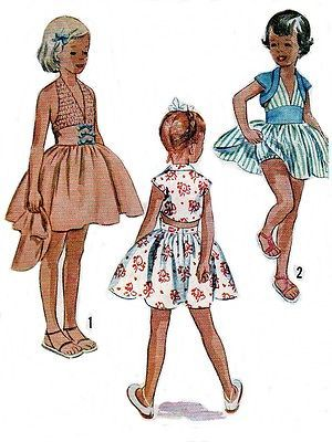 Vintage 1950s SEWING PATTERN Girls Shirred Halter Dress Bolero Top Size 7-8 COPY