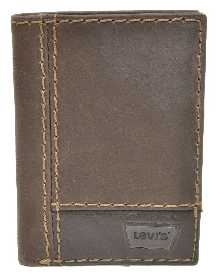 Levi's Brown Heavy Stitched Trifold Wallet